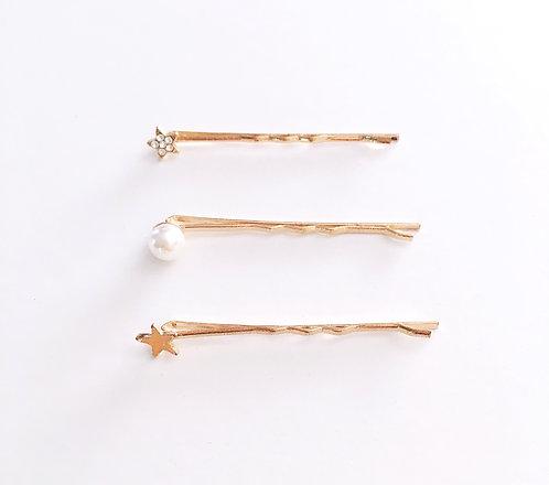 Star & Pearl Hair Pins