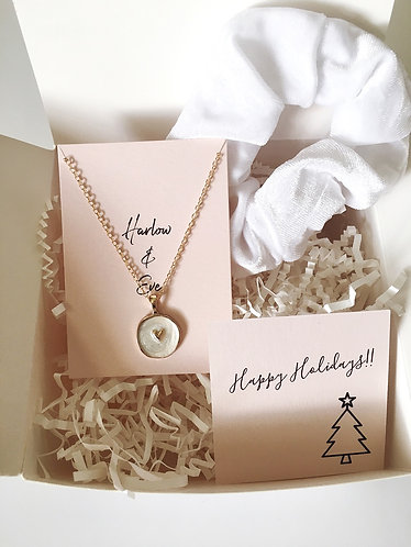 Heart Necklace and Scrunchie Gift Box