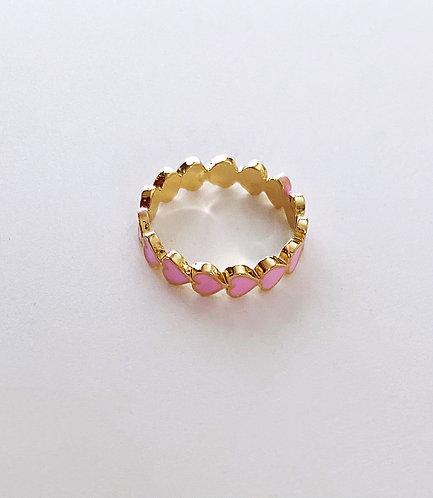 Pink Heart Band Ring