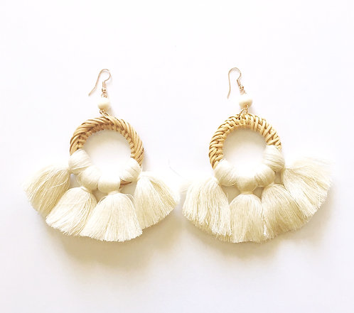 Cream Rattan Tassle Earrings