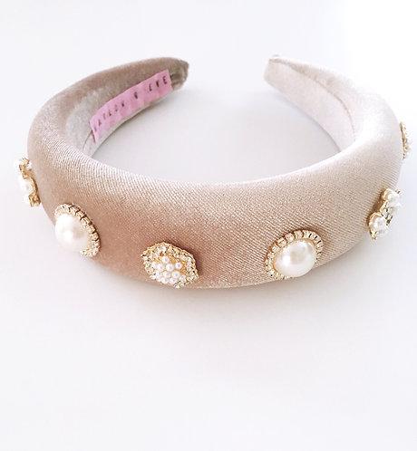 Taupe Jeweled Headband