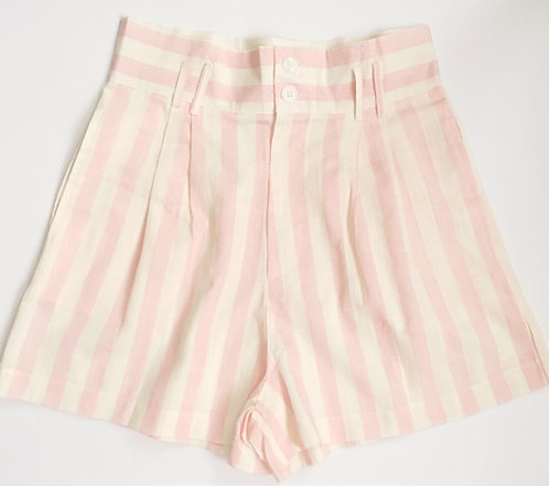Pink Striped Linen Shorts