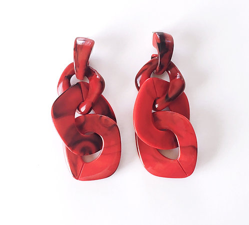 Red Marble Link Earrings
