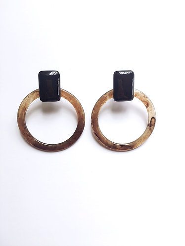 Taupe Acrylic Circle Earrings
