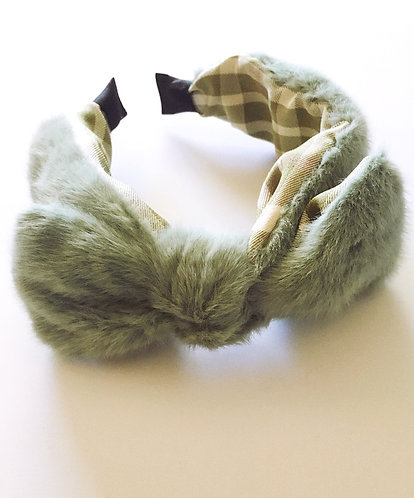 Green Faux Fur Bow Headband