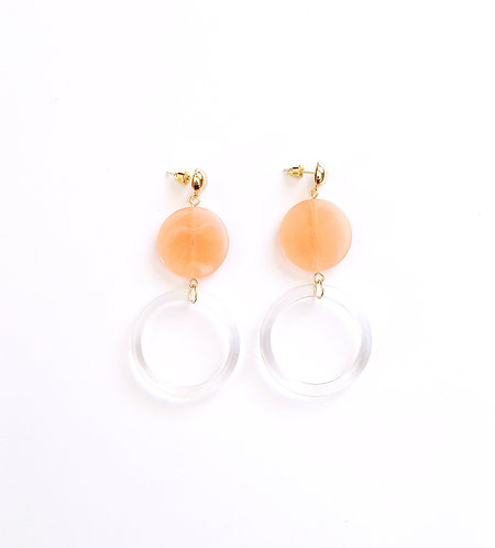 Coral and Clear Acrylic Earrings