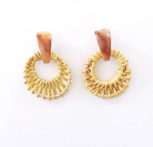 Brown Rattan Earrings