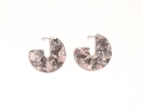 Pink & Gray Tortoise Earrings