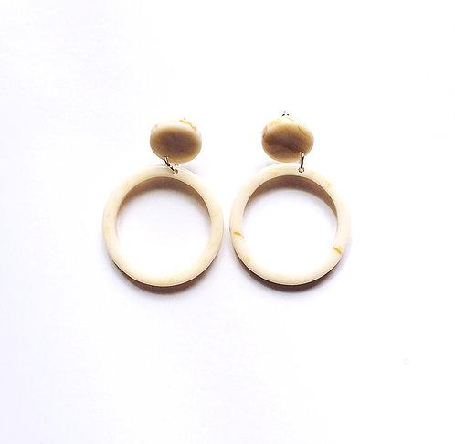Ivory Marble Acrylic Earrings