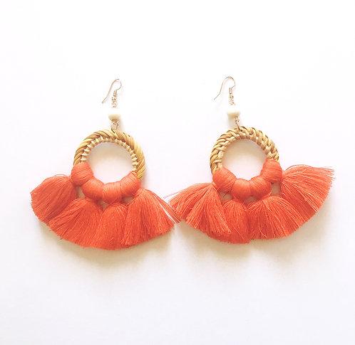Burnt Orange Rattan Tassle Earrings