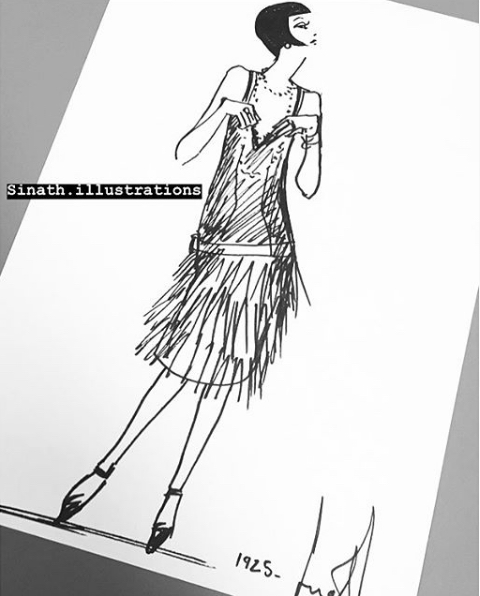 chanel dress 1925 sinath illustrations