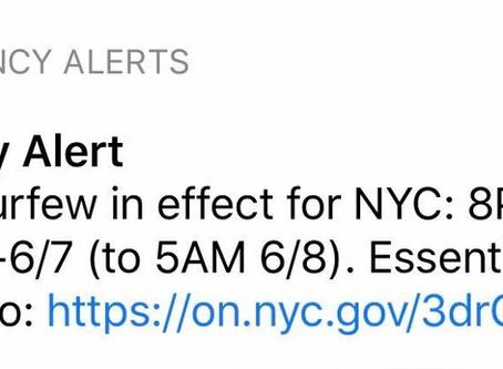 Important Notice Regarding NYC Curfew
