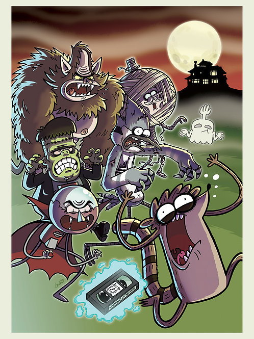 "Regular Show ""Haunted VHS"" A3 print"