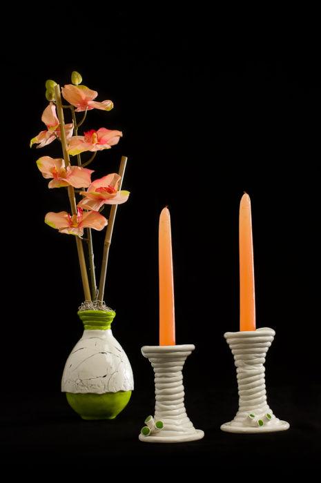 Vase et chandeliers
