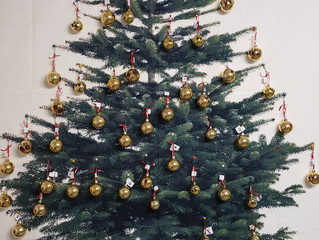 Our very Own Christmas Tree with a decorated Bauble by each child in the school. Find your child&#39