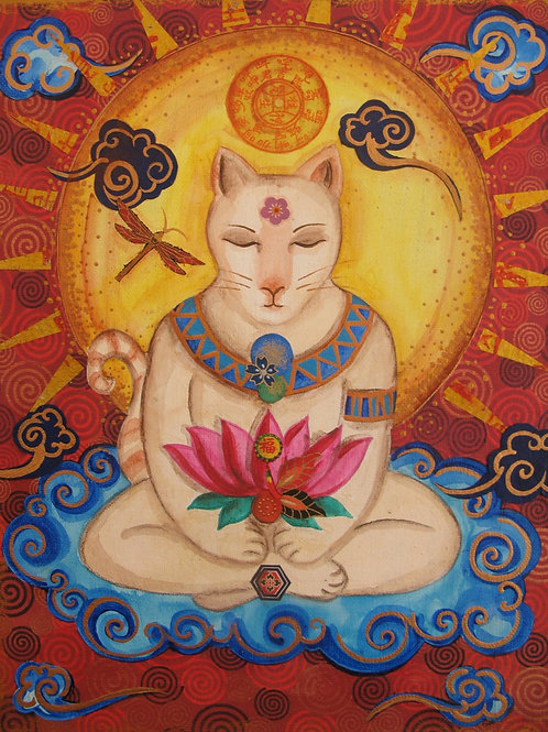 Cloudy Buddha Cat Giclee Print