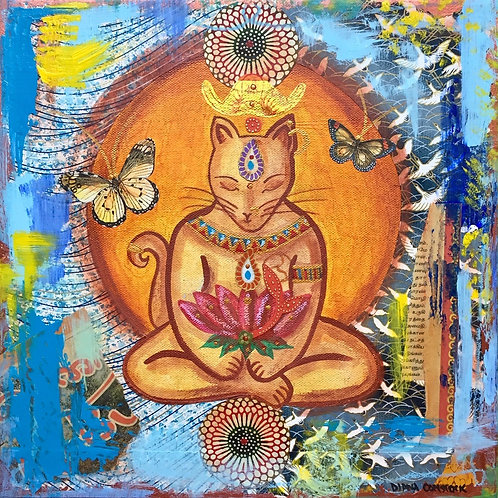 Butterfly Buddha Cat Giclee Print
