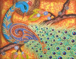 Peacock in the Oak Tree