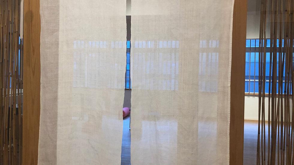 さらし本のれん(無地)京都の本麻、手織り素材を麻糸で手縫い仕立て。