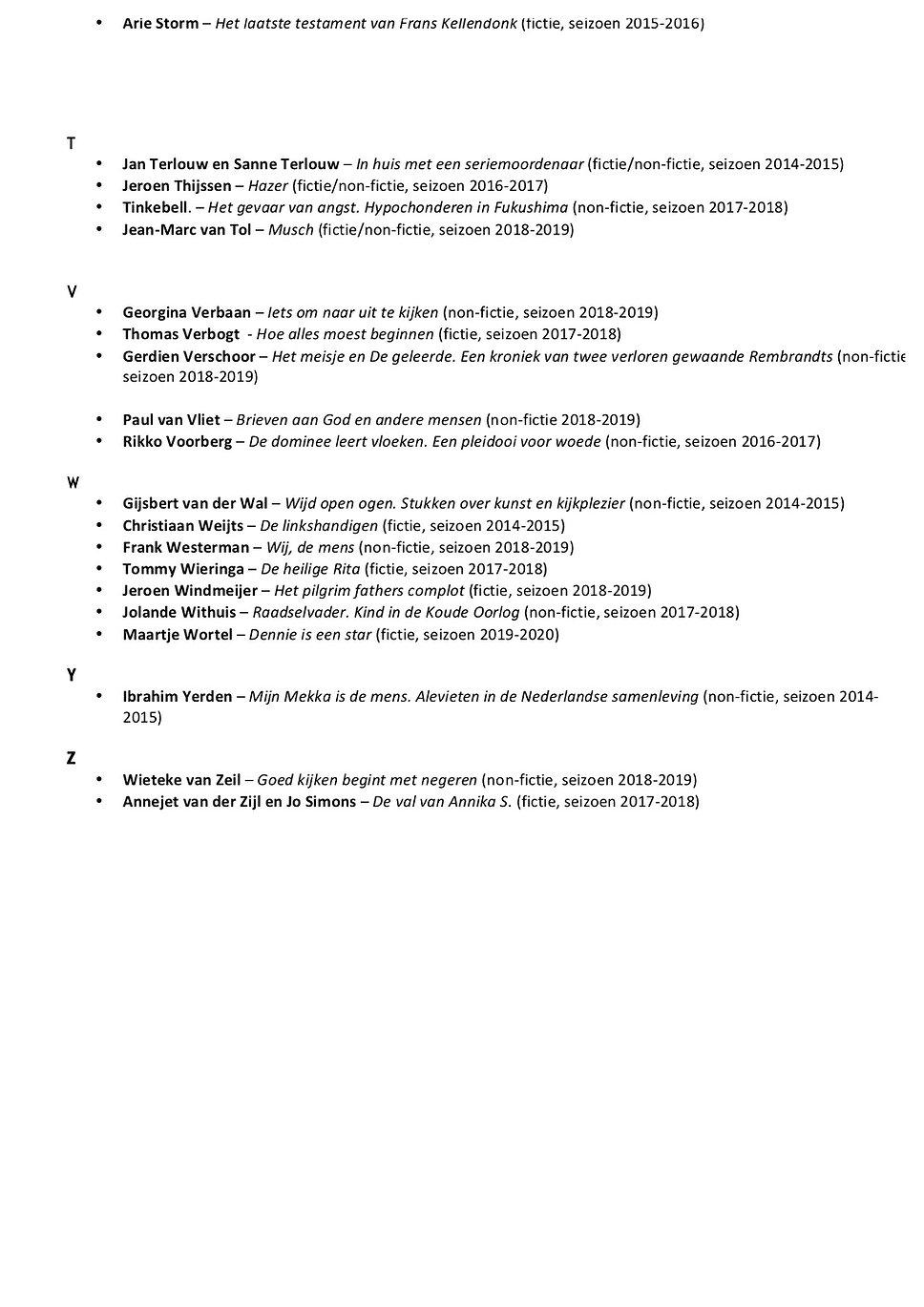 Schrijverslijst Barts BoekenClub A-Z 4.j