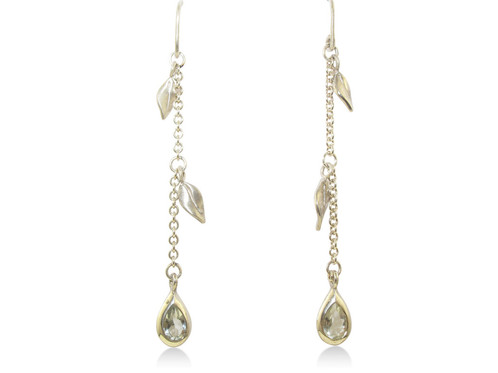 A Pair Of Green Amethyst Drop Earrings With 2 Leaf In Silver