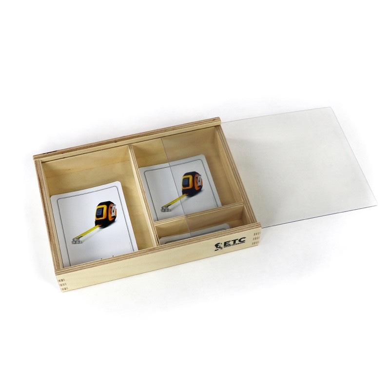 3 part card box for storing Montessori materials in the early childhood and elementary level