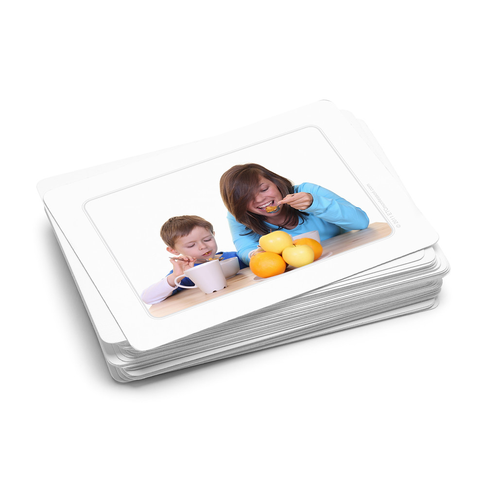 Two young children on a card used in Elder care with Montessori