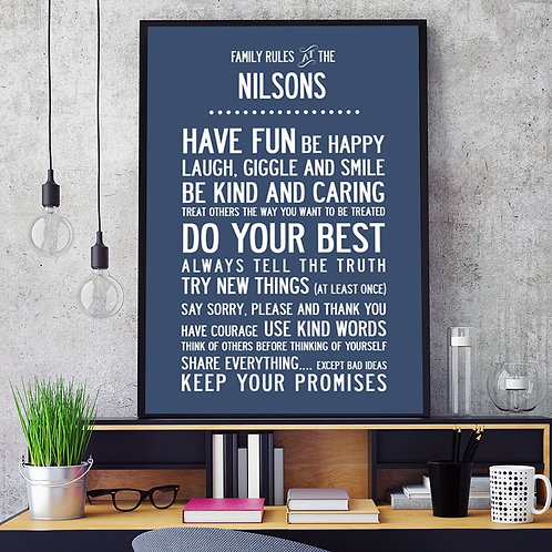 """""""FAMILY RULES..."""" - PERSONALISED POSTER OR CANVAS PRINT"""