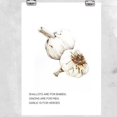 VINTAGE STYLED GARLIC KITCHEN ILLUSTRATION WITH QUOTE - ART PRINT OR CANVAS