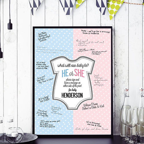 BABY GENDER GUESSING GUEST BOOK PERSONAL PRINT POSTER