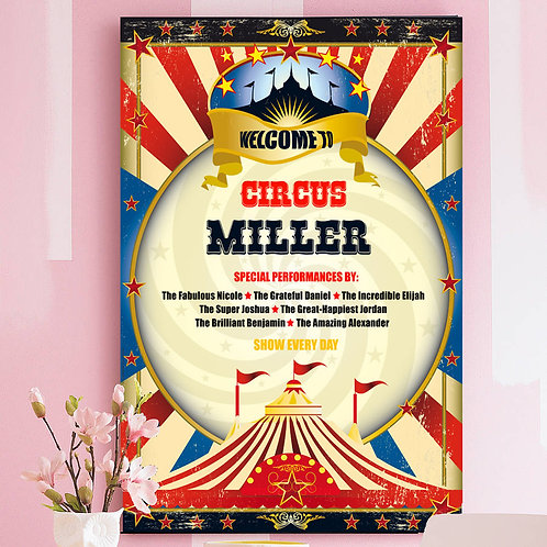 "CIRCUS POSTER OR CANVAS PRINT. PERSONALISED WITH YOUR FAMILY NAME AND ""ARTISTS"""