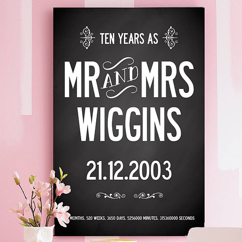 PERSONALISED 10 YEAR WEDDING ANNIVERSARY PRINT - WITH YOUR NAME AND DATE