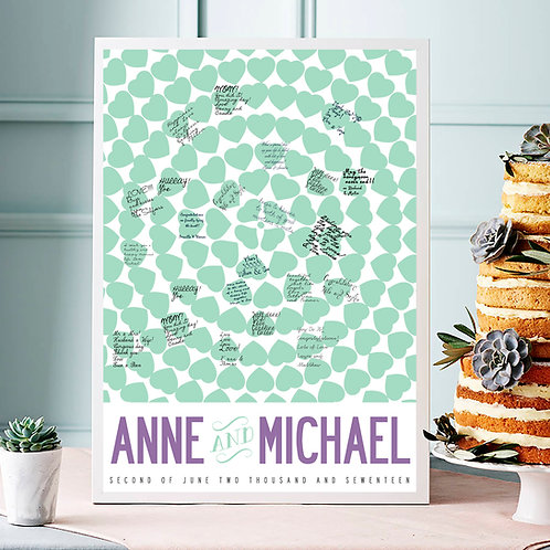 """PERSONALISED """"WEDDING GUEST BOOK"""" HEARTS PATTERN. LARGE POSTER PRINT."""