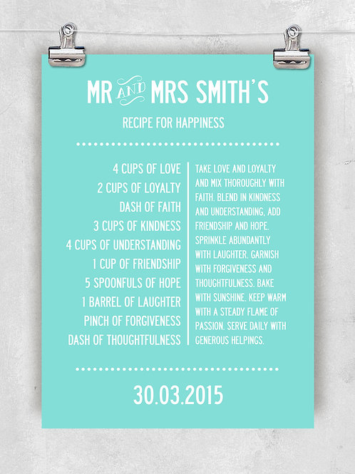 LOVE RECIPE FOR HAPPINESS - PERSONALISED DESIGN WITH YOUR NAME AND DATE. POSTER