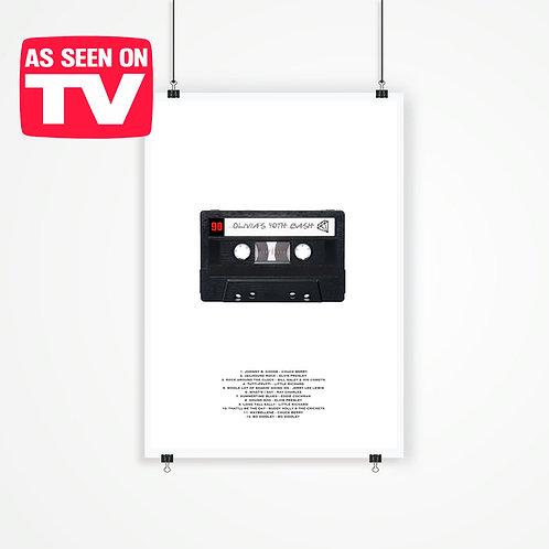 copy of MIX TAPE / CASSETTE PRINT. PERSONALISED POSTER OR CANVAS