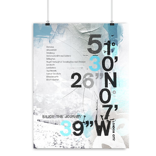 LONDON CITY COORDINATES WITH BOROUGHS - FINE ART PRINT OR CANVAS.