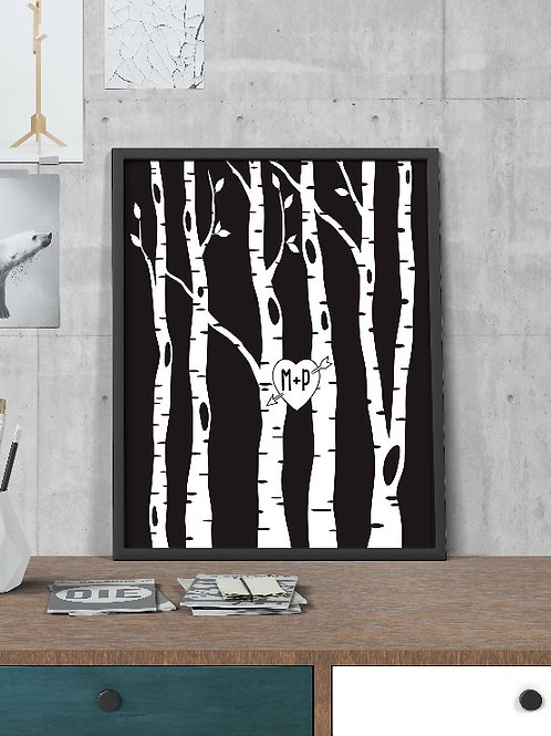 INITIALS ON TREE - PERSONALISED LOVE DESIGN. POSTER OR CANVAS