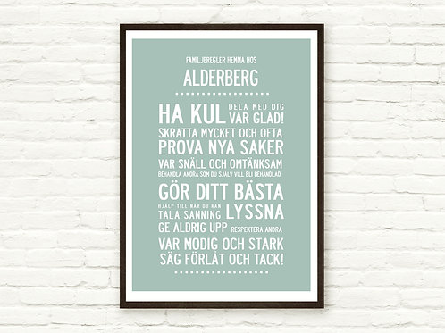 """FAMILY RULES..."" SWEDISH TEXT, PERSONALISED POSTER OR CANVAS PRI"