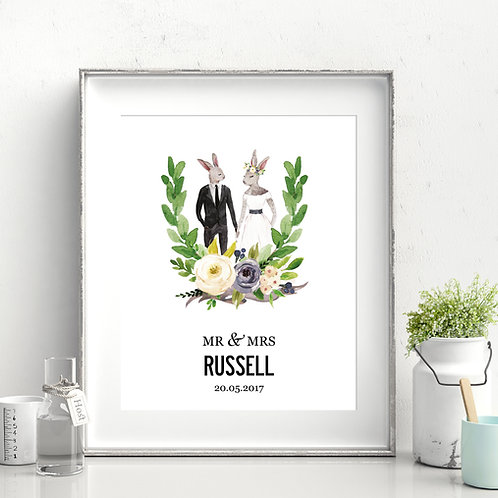 ILLUSTRATED PERSONALISED WEDDING PRINT - HARES 3 SIZES AS POSTER OR C