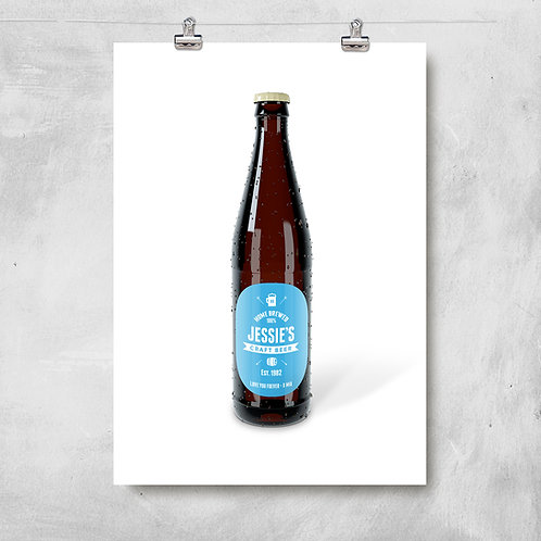 BEER BOTTLE PRINT WITH PERSONALISED NAME LABEL