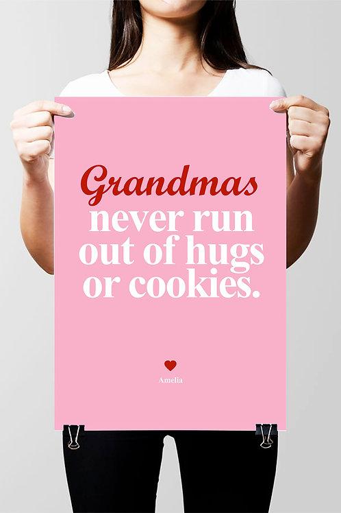 FOR ALL GRANDMOTHERS / GRANDMAS / GRANNYS PERSONALISED NAME QUOTE PRINT.