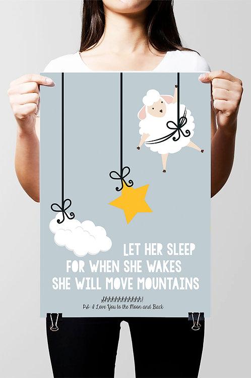 LET HER SLEEP PERSONALISED CUSTOM KIDS NURSERY POSTER OR CANVAS - SALE