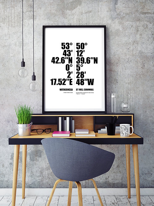 COORDINATE PRINT PERSONALISED WITH 2 CITIES AND CUSTOM TEXT. POSTER OR CANVAS PR