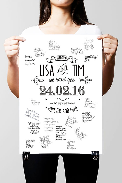 "WEDDING ""GUEST BOOK"" POSTER. PERSONALISED PRINT IN 3 SIZES"