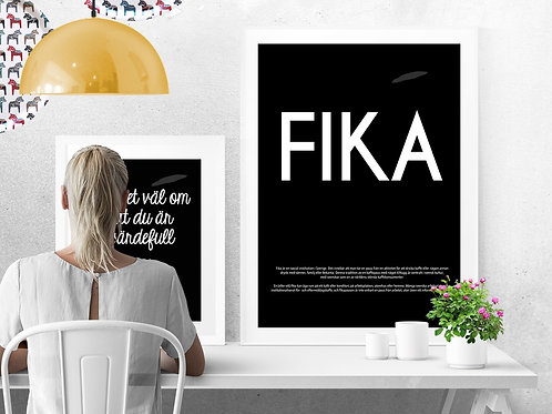 FIKA - SWEDISH OR ENGLISH TEXT ON CANVAS OR POSTER PRINT