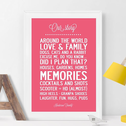 """OUR STORY"" PERSONALISED / WEDDING  - KEPPSAKE POSTER OR CANVAS PRI"