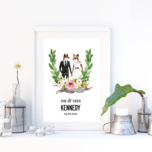 ILLUSTRATED PERSONALISED WEDDING PRINT - FOXES 3 SIZES AS POSTER OR C