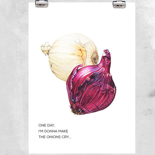 VINTAGE ONION KITCHEN ILLUSTRATION WITH QUOTE - ART PRINT OR CANVAS