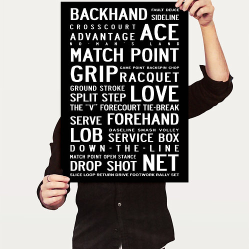 TENNIS - TYPOGRAPHIC POSTER OR CANVAS PRINT.