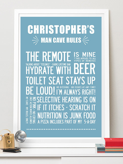 MAN CAVE RULES, PERSONALISED PRINT WITH YOUR NAME